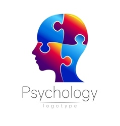 Modern head puzzle logo of Psychology Profile vector image vector image