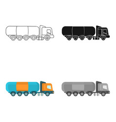 Oil tank trucker icon in cartoon style isolated on vector