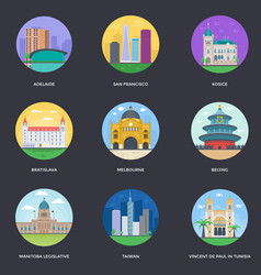 Pack of world cities 13 vector