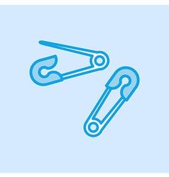 Safety Pin Brooch Icon Simple Blue vector image