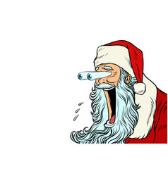 santa claus with bulging eyes a surprise reaction vector image