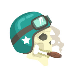 Scull in green helmet smoking cigar colorful vector