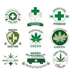 set of cannabis and marijuana vector image vector image