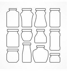 set of figured glass jars vector image vector image