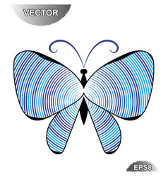 striped summer butterfly vector image vector image