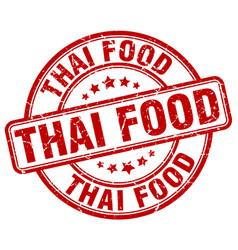 Thai food red grunge round vintage rubber stamp vector