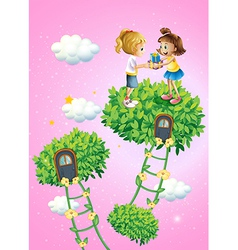 Two girls exchanging gifts vector image vector image
