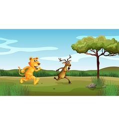 Wilderness tiger deer vector