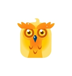 Yellow Owl Chick Square Icon vector image vector image