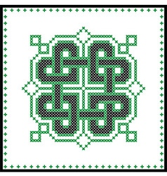 Celtic knot in black green cross stitch pattern vector
