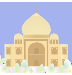Taj mahal with lotuses vector