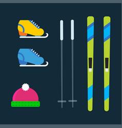 Skiing winter season equipment vector