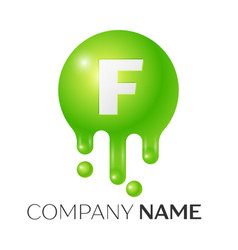 f letter splash green dots and bubbles letter vector image