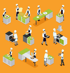 Isometric people cooking set vector