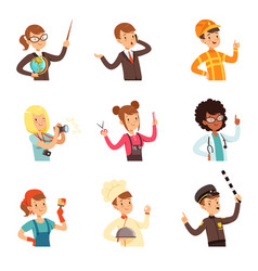 Young men and women of different professions set vector