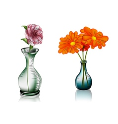 Two vases with flowers vector