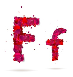 Letter f made from hearts Love alphabet vector image