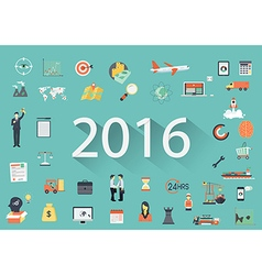 2016 with flat icon vector image vector image
