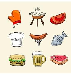 barbecue icon set vector image