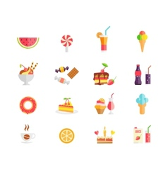 Set of colorful sweets desserts and cakes icons vector image