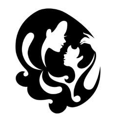 Mother and baby silhouette symbol vector
