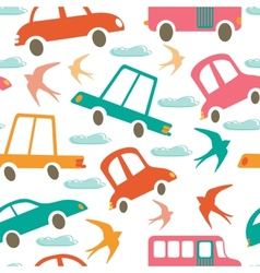 Colorful seamless pattern with cars and swallows vector image