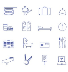 Hotel and motel simple outline icons eps10 vector
