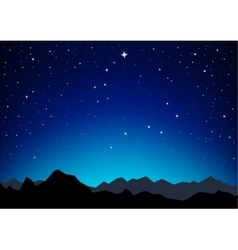 Star sky mountains vector