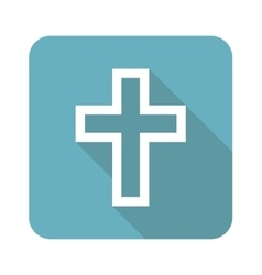 Square christian cross icon vector