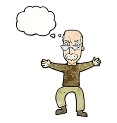 Cartoon old man waving arms with thought bubble vector