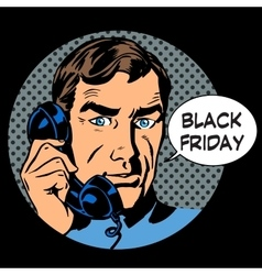 Black friday support by phone vector