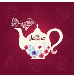 Teapot with flowers vector image