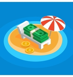 Money resting on the sunny beach vector