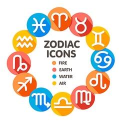 Flat trendy zodiac symbols 2 vector image