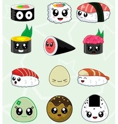 Japanese sushi food icons set vector