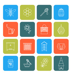 Beekeeping thin line icons set vector
