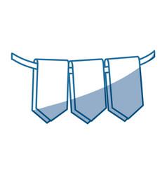 Blue color silhouette set decorative pennants vector