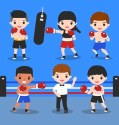 boxing characters set vector image