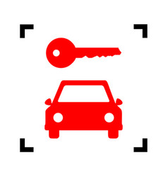 Car key simplistic sign red icon inside vector