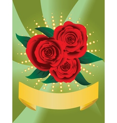 Card with red roses vector image