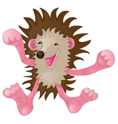 cartoon funny hedgehog vector image vector image
