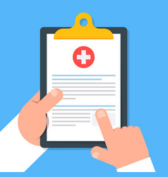 clipboard in hand doctor doctor consider notes in vector image vector image