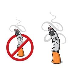 Closeup cigarette for sign of prohibition vector