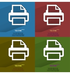 Color set Printer Flat modern web button with long vector image