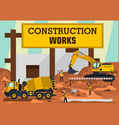 Construction works a group of engineers workers vector