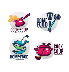 Cook soup and home food collection of bowl full vector