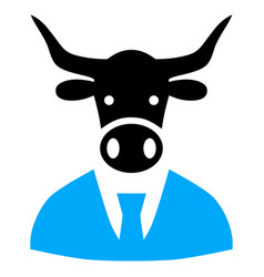 Cow boss icon vector