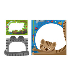 cute happy birthday border cat photo frame vector image