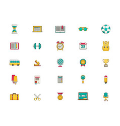 education icon set flat vector image