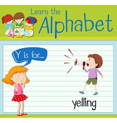 Flashcard letter y is for yelling vector